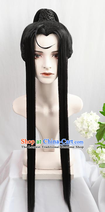 Best Chinese Drama Cosplay Swordsman Wen Ning Wig Sheath China Quality Front Lace Wigs Ancient Young Hero Wig