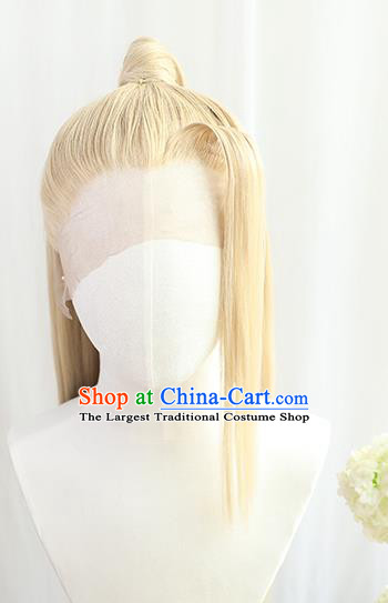 Best Chinese Drama Cosplay Swordsman Golden Wig Sheath China Quality Front Lace Wigs Ancient Young Knight Wig