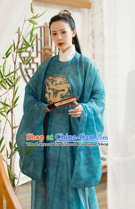 Chinese Song Dynasty Noble Childe Historical Costumes Traditional Ancient Prince Hanfu Apparels Blue Robe and Underwear for Men