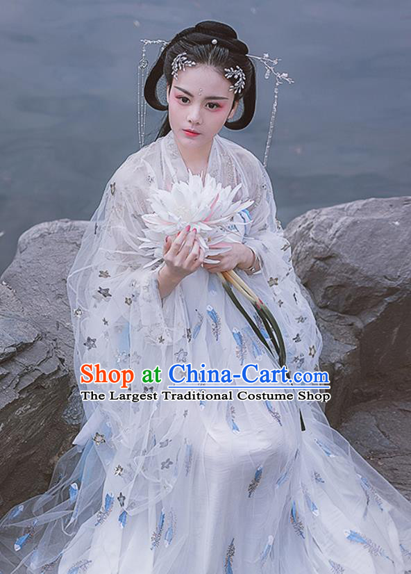 China Traditional Tang Dynasty Princess Historical Costumes Ancient Goddess White Hanfu Dress for Women
