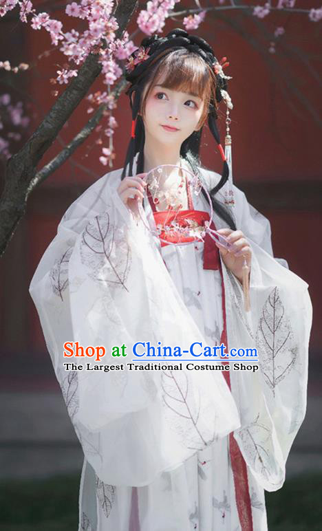 China Ancient Hanfu Apparels Royal Infanta White Dress Traditional Tang Dynasty Court Lady Costumes