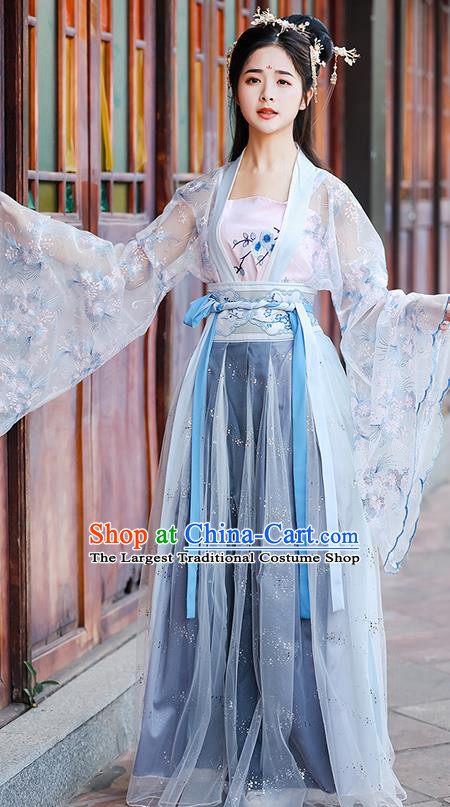 China Ancient Village Women Hanfu Apparels Blue Dress Traditional Tang Dynasty Country Lady Costumes Complete Set