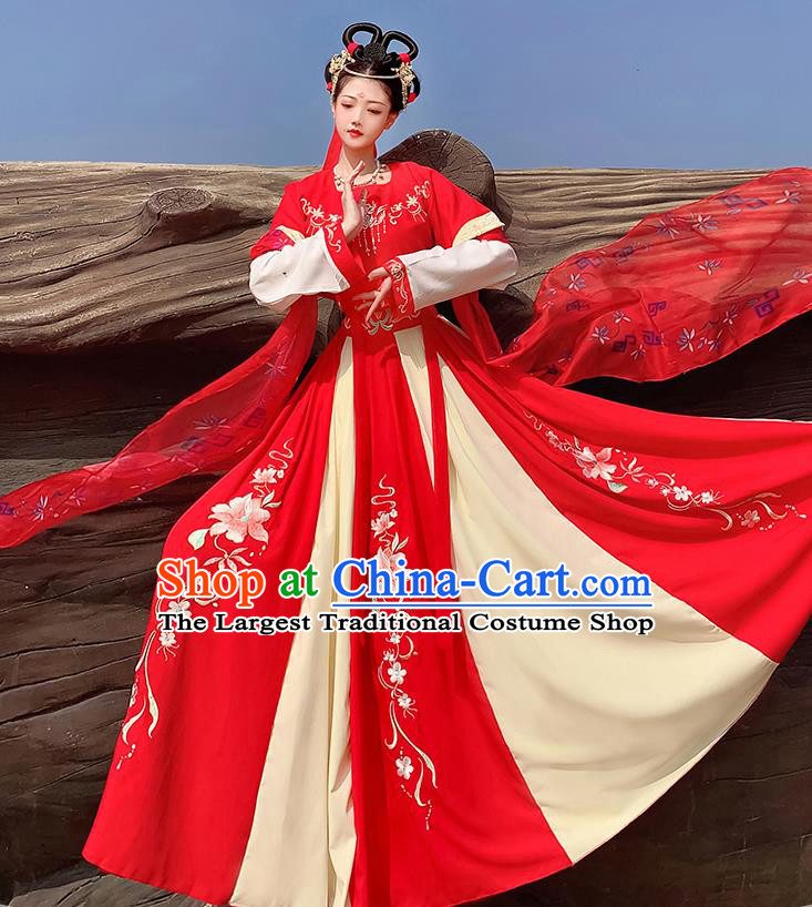 Traditional China Tang Dynasty Historical Costumes Ancient Court Princess Red Hanfu Dress Clothing