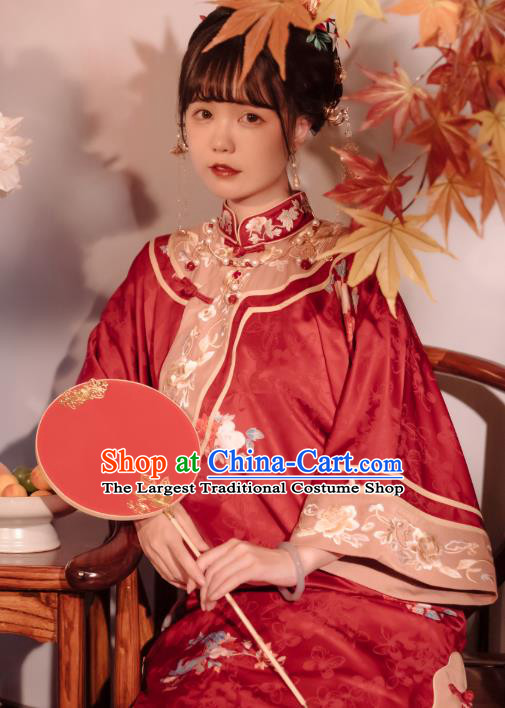 Chinese Traditional Embroidered Xiuhe Suit Bride Red Blouse and Skirt Full Set Tang Suit Wedding Costumes