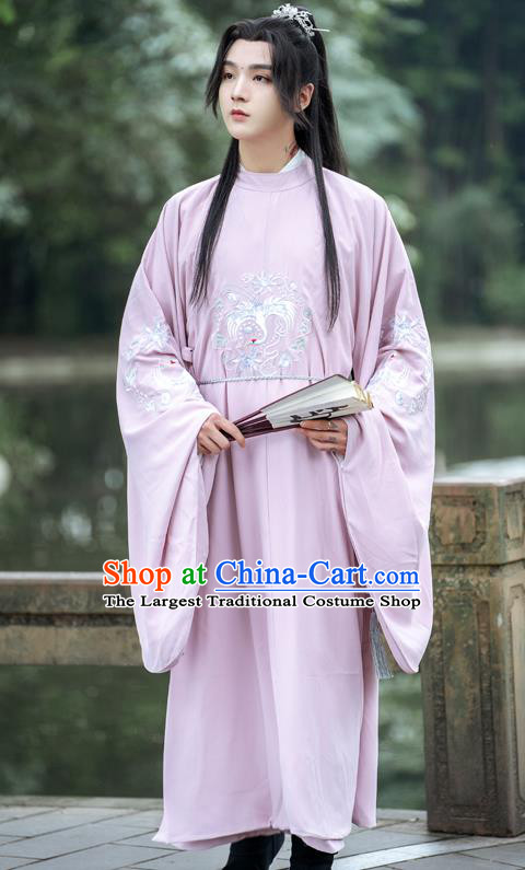 Ancient China Costumes Traditional Ming Dynasty Royal Prince Pink Round Collar Robe for Men