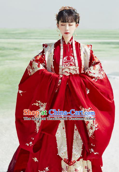 China Ancient Wedding Embroidered Costumes Traditional Ming Dynasty Bride Hanfu Clothing Complete Set
