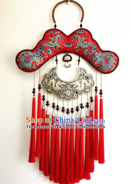Handmade China Embroidered Red Tassel Necklace Traditional National Silver Carving Accessories Miao Ethnic Rattan Necklet