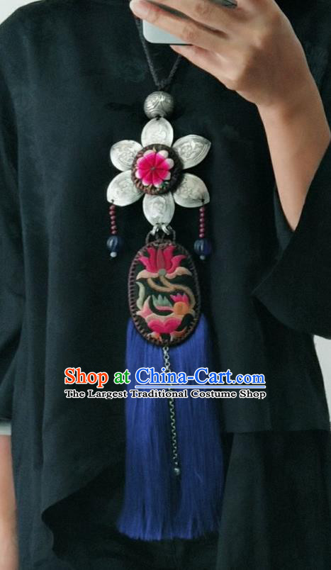 China National Silver Flower Necklet Traditional Ethnic Blue Tassel Necklace Accessories Handmade Women Embroidered Lotus Jewelry