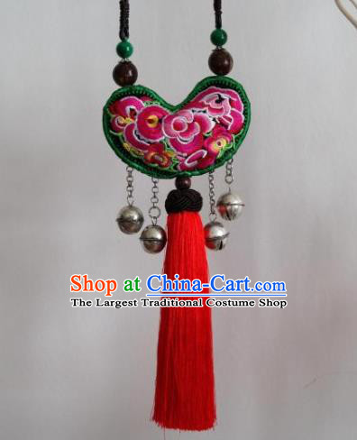 China Handmade Ethnic Red Tassel Necklace Traditional Miao Nationality Embroidered Accessories