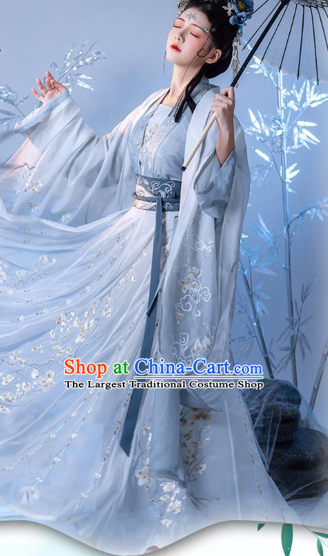 China Ancient Court Beauty Embroidered Costume Traditional Tang Dynasty Princess Hanfu Clothing for Women