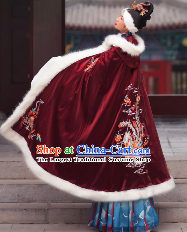 Chinese Ming Dynasty Countess Historical Costumes Traditional Ancient Noble Women Hanfu Apparels Embroidered Wine Red Wool Cape