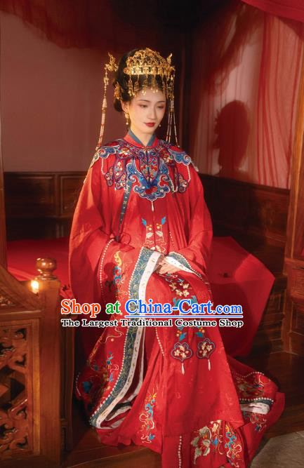 Chinese Ming Dynasty Court Queen Historical Costumes Traditional Ancient Empress Wedding Embroidered Hanfu Apparels Full Set
