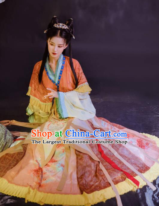 Chinese Jin Dynasty Infanta Historical Costumes Traditional Hanfu Apparels Ancient Palace Princess Embroidered Dress for Women