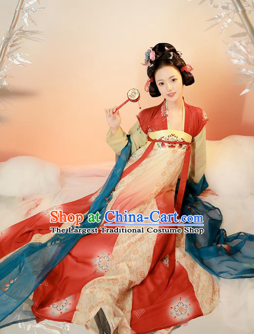 Chinese Tang Dynasty Historical Costumes Traditional Hanfu Apparels Ancient Princess Embroidered Top Blouse and Dress for Women