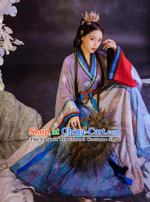 Chinese Jin Dynasty Historical Costumes Traditional Ancient Goddess Purple Hanfu Apparels Blouse and Skirt for Women