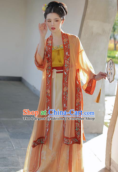 Chinese Ancient Patrician Embroidered BeiZi Top and Skirt Traditional Hanfu Apparel Song Dynasty Historical Costume for Nobility Women
