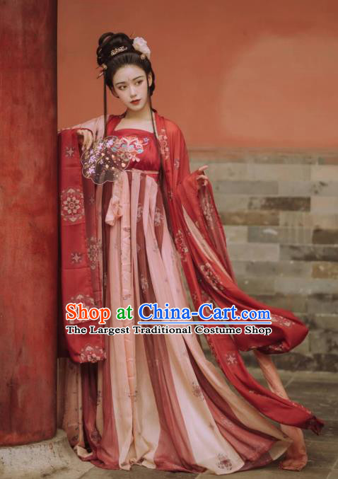 Chinese Traditional Ancient Imperial Consort Hanfu Apparels Red Cape and Dress Tang Dynasty Court Historical Costumes for Women