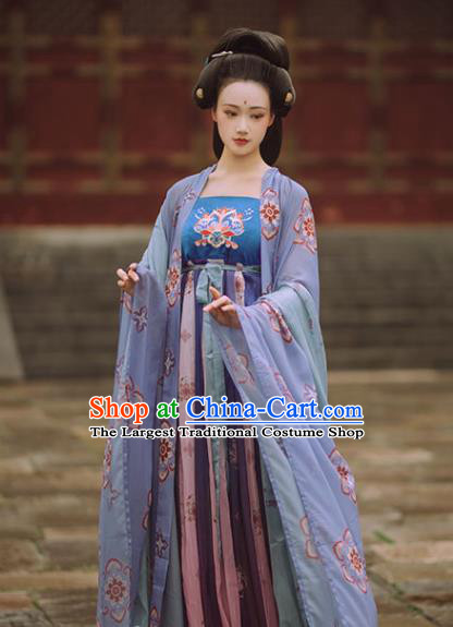Chinese Tang Dynasty Court Historical Costume Traditional Ancient Imperial Consort Hanfu Apparel Cape and Dress Complete Set