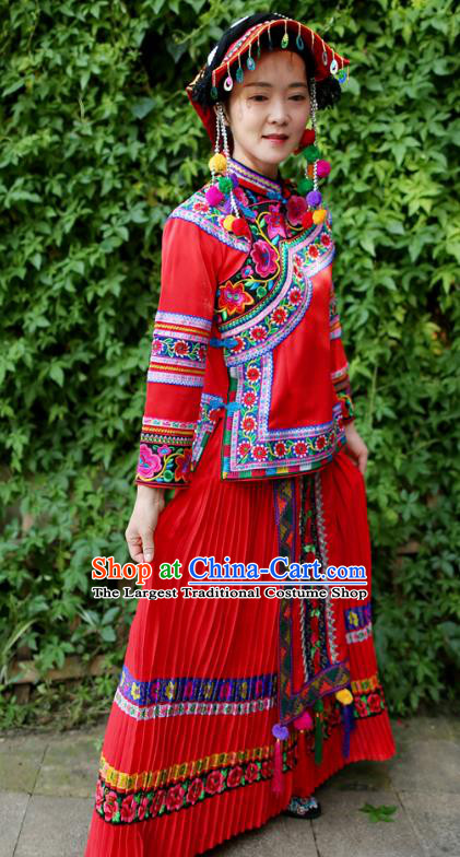 Embroidered Uniforms China Guizhou Puyi Ethnic Women Red Blouse and Long Skirt Traditional Bouyei Nationality Folk Dance Clothing with Hat