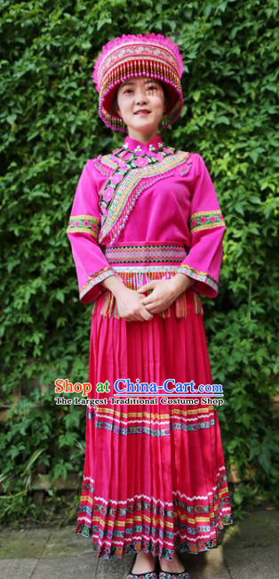 Traditional Ethnic Women Rosy Uniforms Embroidered Waistband China Yunnan Lisu Nationality Blouse and Long Skirt with Headwear