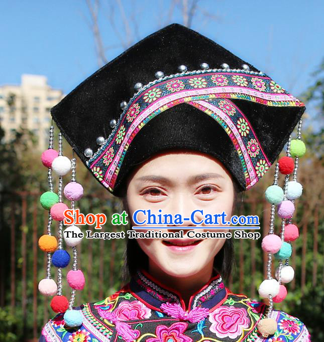 Top Quality China Ethnic Women Headwear Chinese Zhuang Nationality Embroidered Black Hat