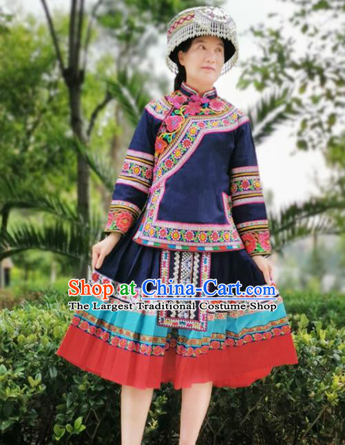 Traditional Bouyei Ethnic Women Uniforms China Guizhou Puyi Nationality Embroidered Navy Blouse and Short Skirt with Round Hat