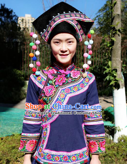 Traditional Zhuang Ethnic Women Uniforms China Guizhou Nationality Embroidered Navy Blouse and Short Skirt with Cloth Hat