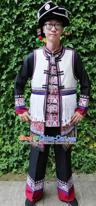 Chinese Bai Nationality Embroidered White Vest Quality Ethnic Costumes Tassel Short Waistcoat for Men