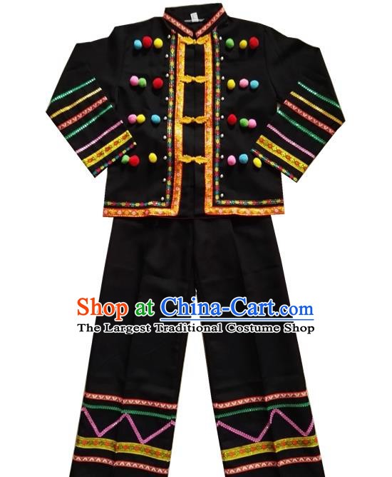 Chinese Lahu Nationality Black Uniforms Quality Ethnic Shirt and Pants for Men