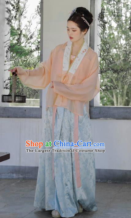 Traditional China Female Hanfu Ancient Song Dynasty Civilian Female Costume Blouse top and Skirt Full Set