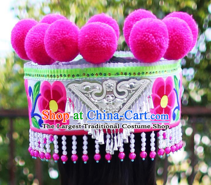 Chinese Ethnic Women Beads Tassel Headwear Traditional Yunnan Yi Nationality Embroidered Silver Hat