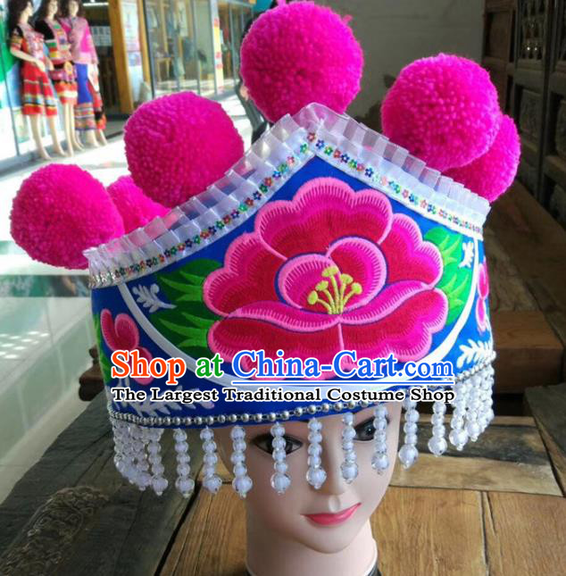 Chinese Traditional Embroidered Peony Royalblue Hat Ethnic Women White Beads Tassel Headwear Yunnan Yi Nationality Headpiece
