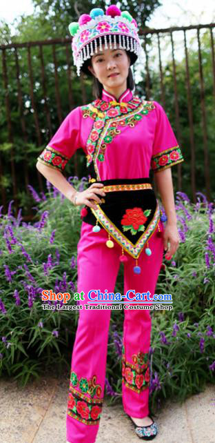 China Chuxiong Yi Nationality Folk Dance Costumes Chinese Yunnan Yi Ethnic Women Embroidered Rosy Blouse and Pants with Headwear