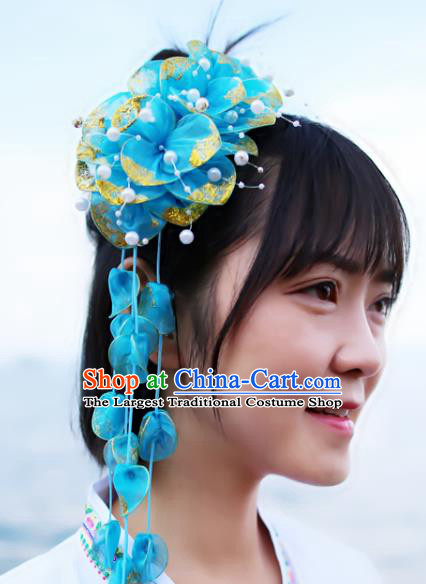 Chinese Dai Nationality Bride Headpiece Traditional Blue Silk Flowers Hair Stick Yunnan Ethnic Women Tassel Headwear