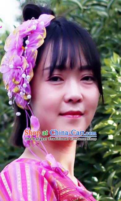 Chinese Traditional Yunnan Ethnic Women Tassel Headpiece Dai Nationality Bride Purple Silk Flowers Hair Stick