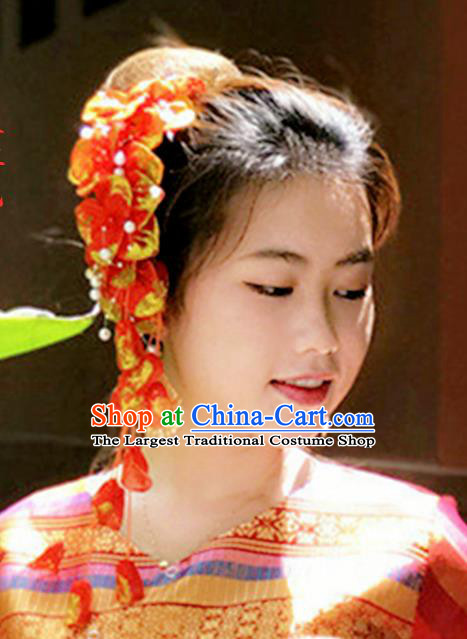 Chinese Traditional Ethnic Hair Accessories Dai Nationality Bride Red Silk Flowers Hair Claw Yunnan Women Tassel Headpiece