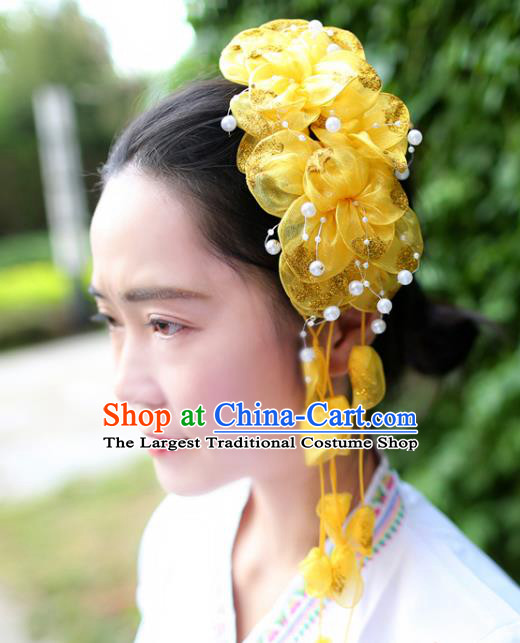 Women Yellow Silk Flowers Hair Claw Yunnan Dai Nationality Bride Headpiece Chinese Traditional Ethnic Hair Accessories