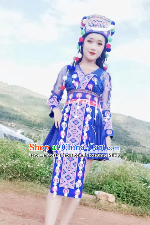 China Ethnic Photography Clothing Miao Nationality Embroidered Outfits Women Royalblue Blouse and Skirt with Hat