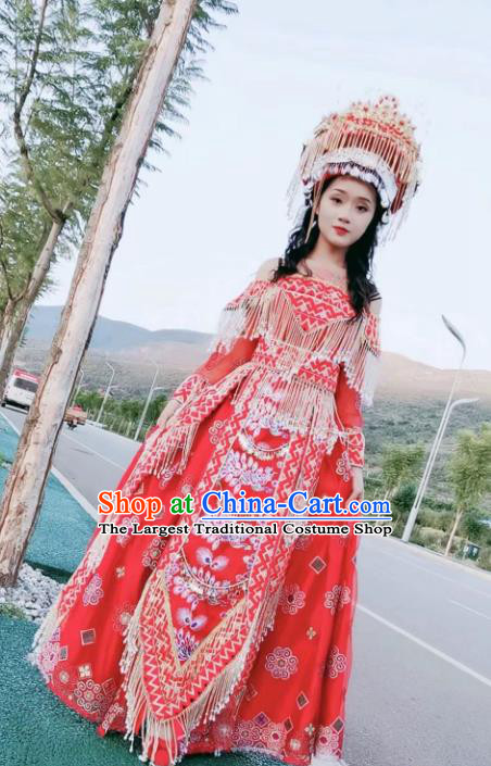 China Traditional Miao Nationality Embroidered Outfits Women Red Dress Ethnic Photography Clothing and Headwear