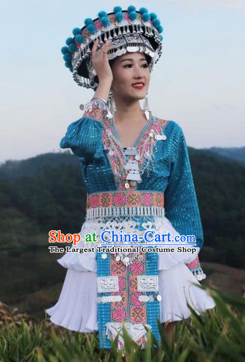 China Mengzi Miao Nationality Clothing Embroidered Photography Outfits Ethnic Women Blue Short Dress and Hat