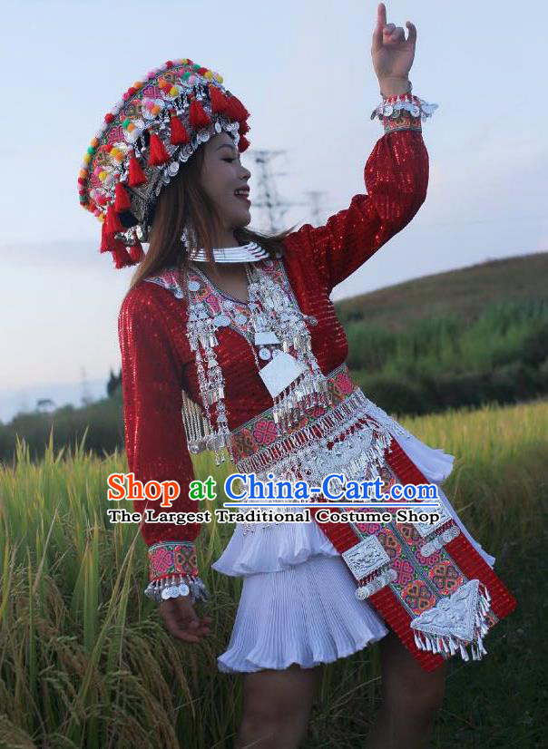 China Photography Embroidered Outfits Mengzi Miao Nationality Clothing Ethnic Women Red Sequins Short Dress and Headwear