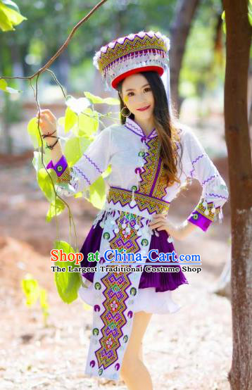 Top Quality Yao Minority White Blouse and Short Skirt Women Dance Clothing China Yunnan Ethnic Costumes with Hat