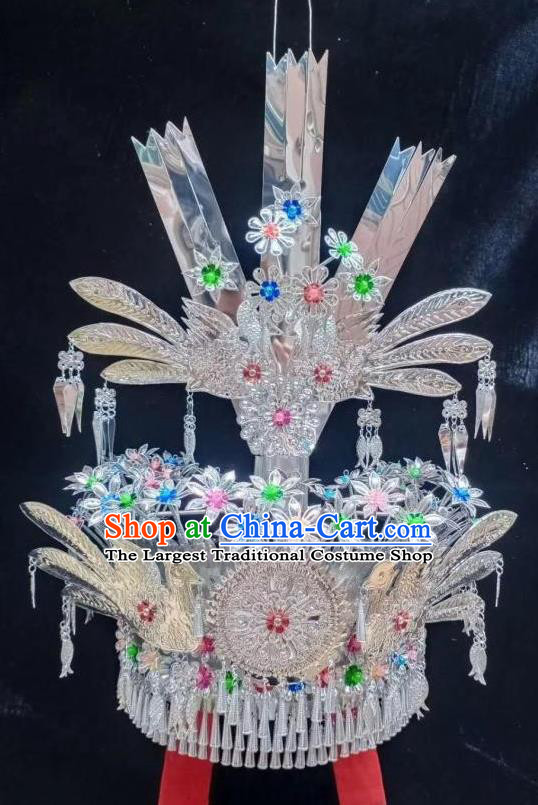 Chinese Traditional Colorful Beads Headdress Miao Ethnic Wedding Bride Phoenix Hat Minority Folk Dance Hair Accessories