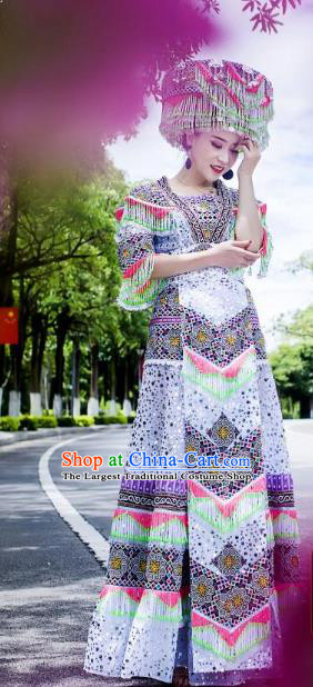Top China Miao Ethnic Women Costumes Yunnan Minority Nationality Folk Dance Clothing Stage Performance Blouse and Long Skirt With Hat