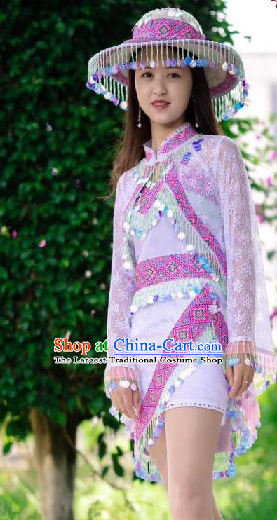 China Yunshan Ethnic Costumes Minority Nationality Photography Clothing Top and Skirt with Hat