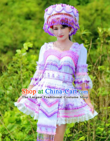 China Miao Ethnic Folk Dance Clothing with Hat Miao Nationality Women Fashion Costumes Lilac Beads Tassel Blouse and Short Skirt