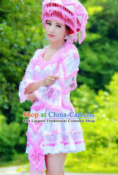 China Ethnic Women Pink Beads Tassel Blouse and Short Skirt Folk Dance Clothing Miao Nationality Fashion Costumes with Hat