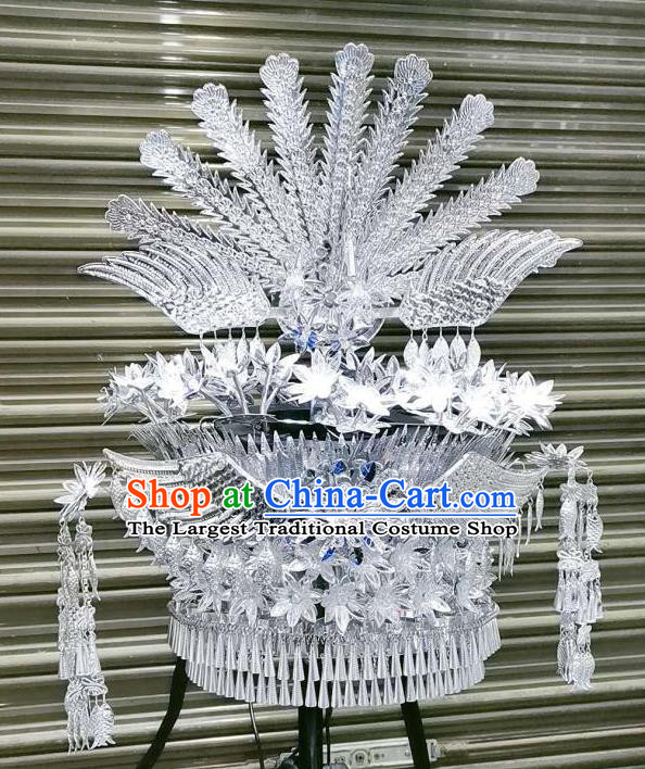 Chinese Miao Ethnic Hair Accessories Traditional Minority Women Folk Dance Headdress Wedding Argent Phoenix Hat