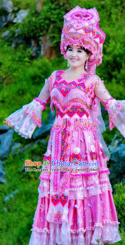 China Guizhou Miao Ethnic Wedding Fashion Top Quality Miao Nationality Bride Clothing Minority Rosy Dresses with Headdress