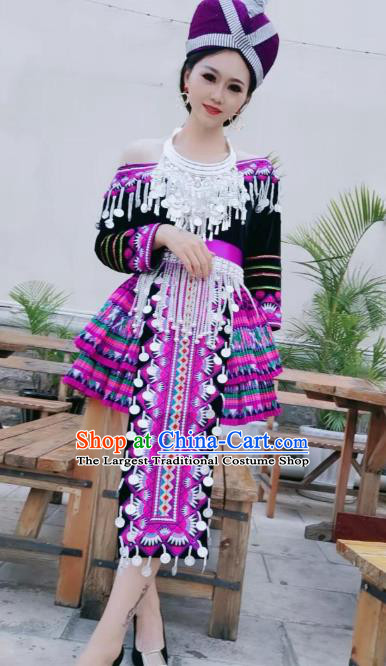 China Yunnan Minority Dance Dress Yi Ethnic Nationality Female Embroidered Costumes and Hat